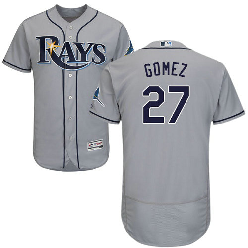 Tampa Bay Rays #27 Carlos Gomez Grey Flexbase Authentic Collection Stitched Baseball Jersey