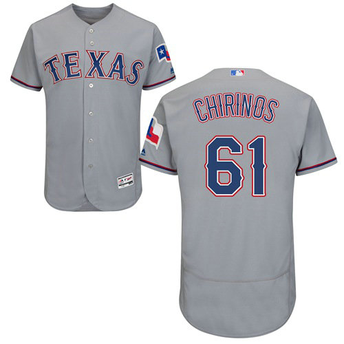 Texas Rangers #61 Robinson Chirinos Grey Flexbase Authentic Collection Stitched Baseball Jersey