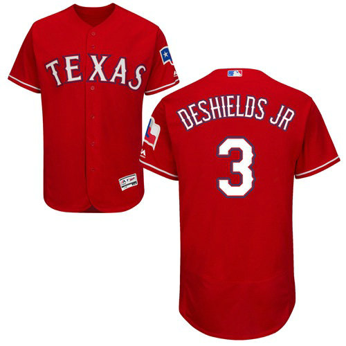 Texas Rangers #3 Delino DeShields Jr. Red Flexbase Authentic Collection Stitched Baseball Jersey
