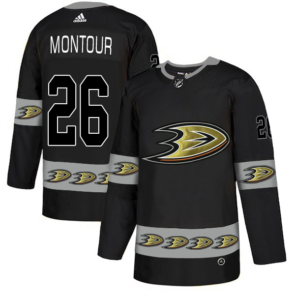 Men's Anaheim Ducks #26 Brandon Montour Black Team Logos Fashion Adidas Jersey