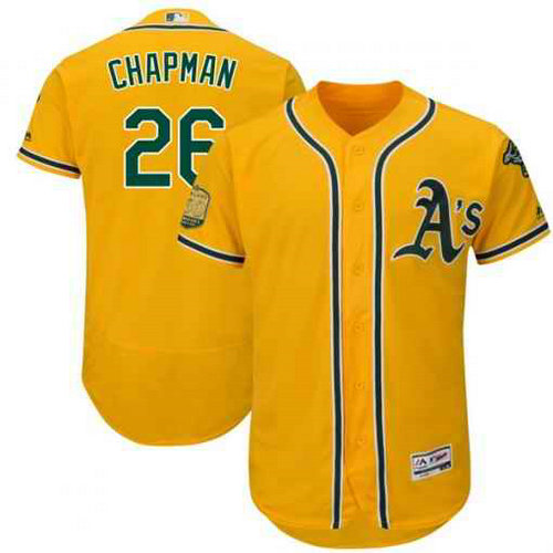 Men's Oakland Athletics #26 Matt Chapman Gold Flexbase Authentic Collection Stitched MLB Jersey