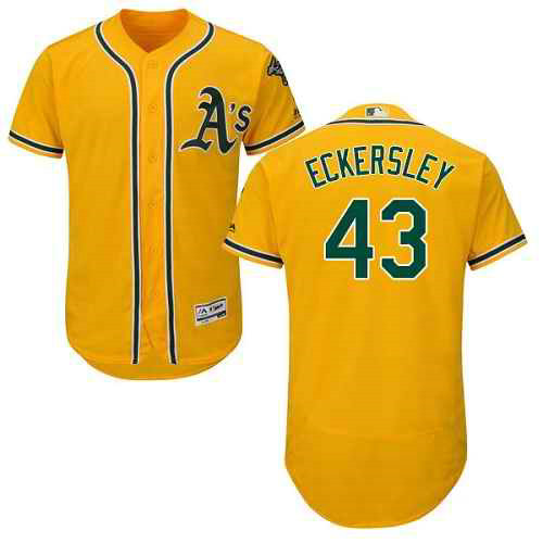 Men's Oakland Athletics #43 Dennis Eckersley Gold Flexbase Authentic Collection Stitched MLB Jersey