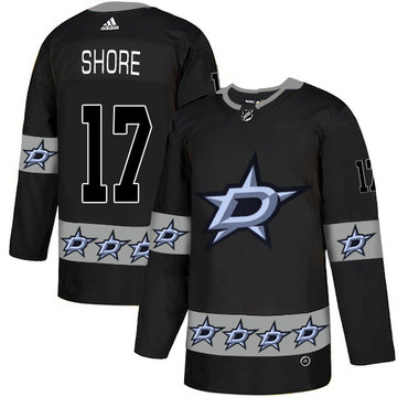 Men's Dallas Stars #17 Devin Shore Black Team Logos Fashion Adidas Jersey