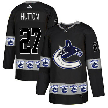 Men's Vancouver Canucks #27 Ben Hutton Black Team Logos Fashion Adidas Jersey