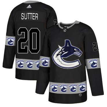 Men's Vancouver Canucks #20 Brandon Sutter Black Team Logos Fashion Adidas Jersey