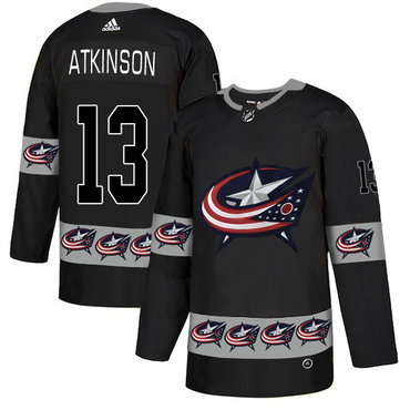 Men's Columbus Blue Jackets #13 Cam Atkinson Black Team Logos Fashion Adidas Jersey
