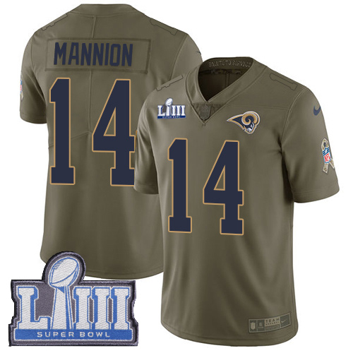 Men's Los Angeles Rams #14 Sean Mannion Olive Nike NFL 2017 Salute to Service Super Bowl LIII Bound Limited Jersey