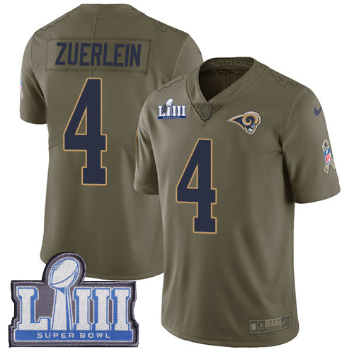 Men's Los Angeles Rams #4 Greg Zuerlein Olive Nike NFL 2017 Salute to Service Super Bowl LIII Bound Limited Jersey