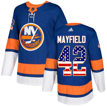 Men's New York Islanders #42 Scott Mayfield Adidas Royal Blue Authentic USA Flag Fashion NHL Jersey