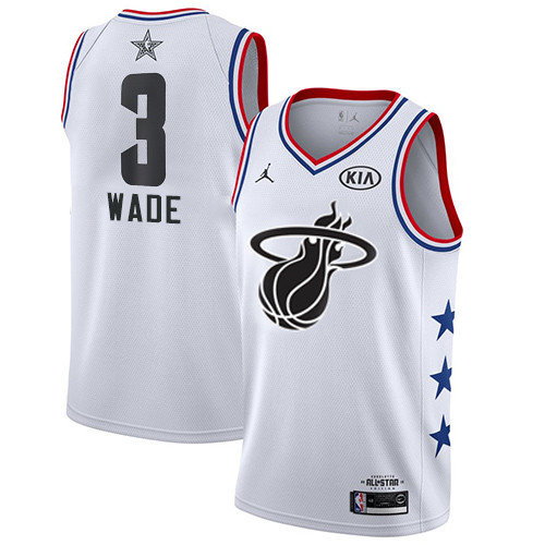 Heat #3 Dwyane Wade White Basketball Jordan Swingman 2019 All-Star Game Jersey