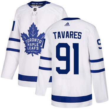 Men's Adidas Maple Leafs #91 John Tavares White Road Authentic Stitched NHL Jersey