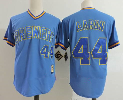 Size 5XL Men's Milwaukee Brewers #44 Hank Aaron Light Blue Pullover Throwback Cooperstown Collection Stitched MLB Mitchell & Ness Jersey