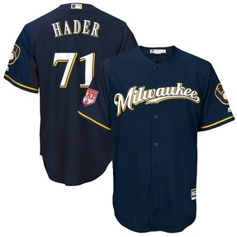 Men's Milwaukee Brewers 71 Josh Hader Majestic Navy 2019 Spring Training Cool Base Player Jersey