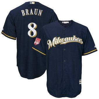 Men's Milwaukee Brewers 8 Ryan Braun Majestic Navy 2019 Spring Training Cool Base Player Jersey
