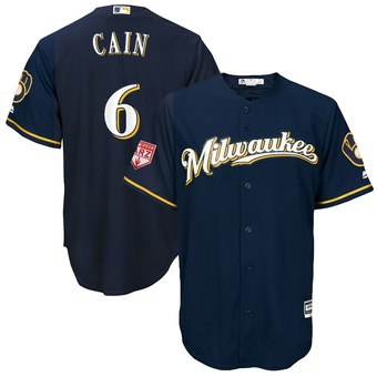 Men's Milwaukee Brewers 6 Lorenzo Cain Majestic Navy 2019 Spring Training Cool Base Player Jersey