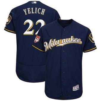 Men's Milwaukee Brewers 22 Christian Yelich Majestic Navy 2019 Spring Training Flex Base Player Jersey