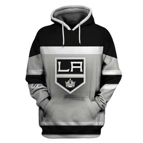 Men's Los Angeles Kings Gray All Stitched Hooded Sweatshirt