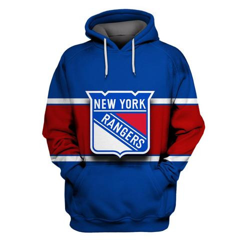 Men's NY Rangers Blue All Stitched Hooded Sweatshirt