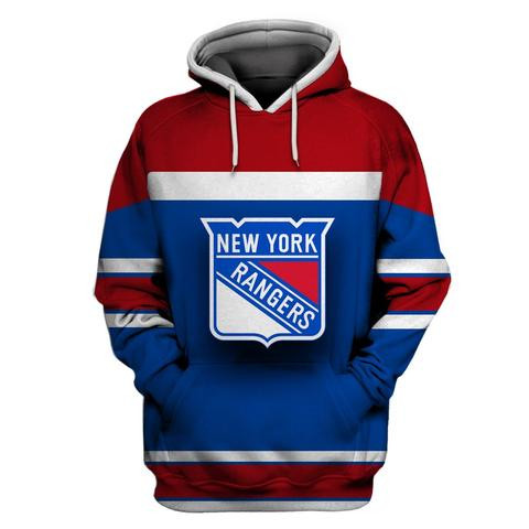 Men's NY Rangers Blue Red All Stitched Hooded Sweatshirt