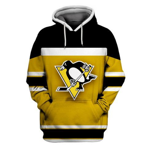 Men's Pittsburgh Penguins Yellow All Stitched Hooded Sweatshirt