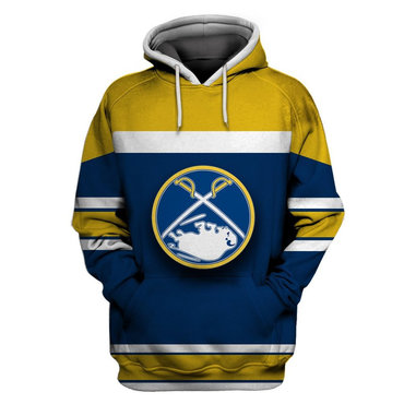Men's Buffalo Sabres Blue Gold All Stitched Hooded Sweatshirt