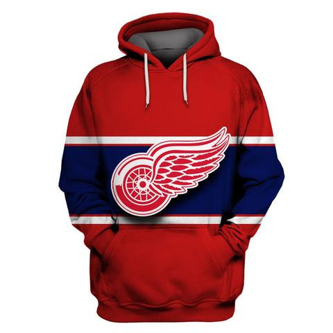 Men's Detroit Red Wings Red All Stitched Hooded Sweatshirt