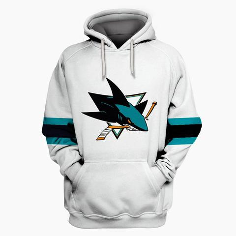 Men's San Jose Sharks White All Stitched Hooded Sweatshirt