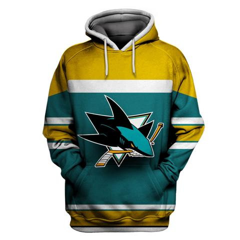 Men's San Jose Sharks Green All Stitched Hooded Sweatshirt