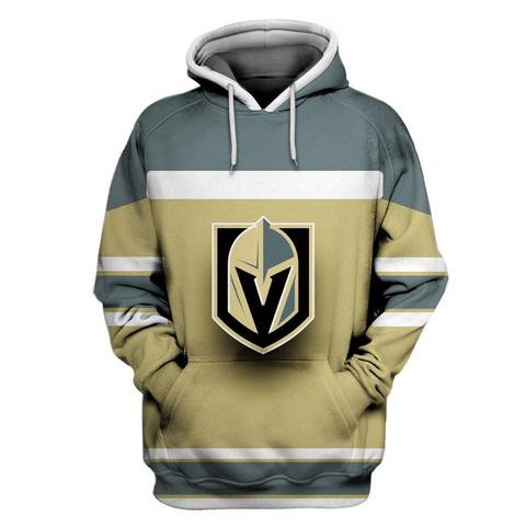 Men's Vegas Golden Knights Gold All Stitched Hooded Sweatshirt