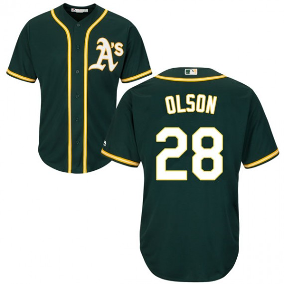 Men's Oakland Athletics #28 Matt Olson Green Cool Base Jersey