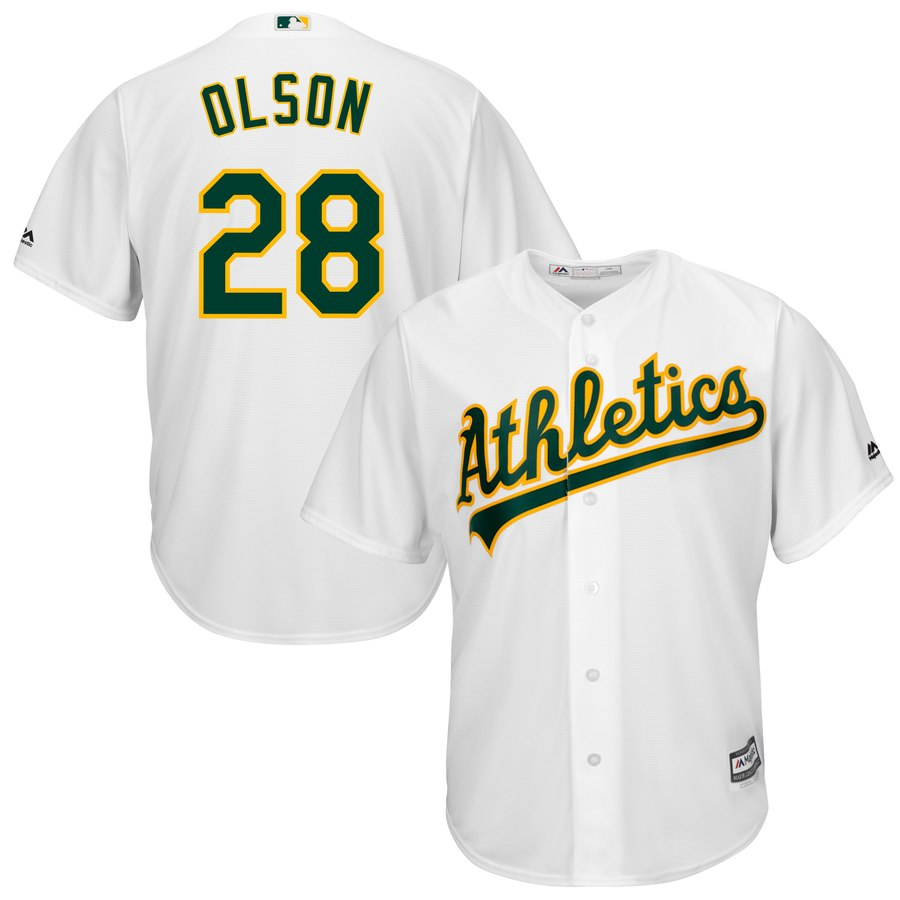 Men's Oakland Athletics #28 Matt Olson White Cool Base Jersey