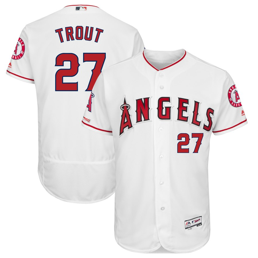 Men's LA Angels of Anaheim 27 Mike Trout White 150th Patch Flexbase Jersey