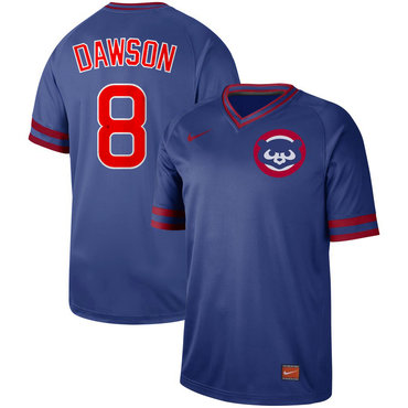 Men's Chicago Cubs 8 Andre Dawson Blue Throwback Jersey