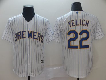 Men's Milwaukee Brewers 22 Christian Yelich White Cool Base Jersey