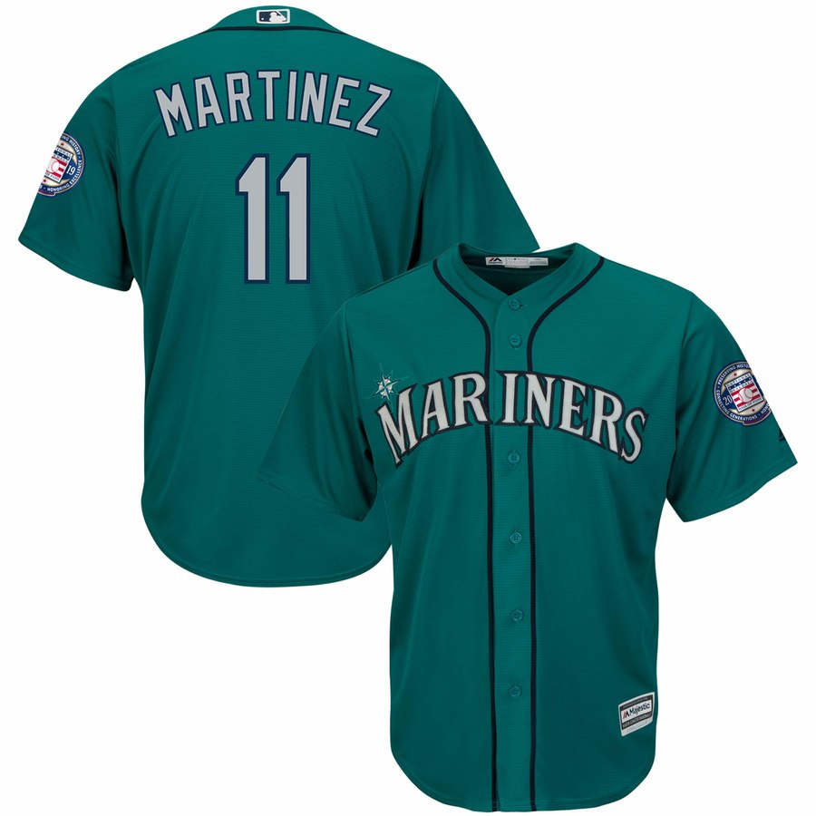 Men's Seattle Mariners 11 Edgar Martinez Green 2019 Hall of Fame Induction Patch Cool Base Jersey