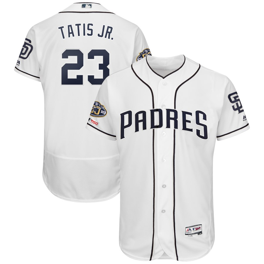 Men's San Diego Padres 23 Fernando Tatis Jr. White 50th Anniversary and 150th Patch FlexBase Jersey