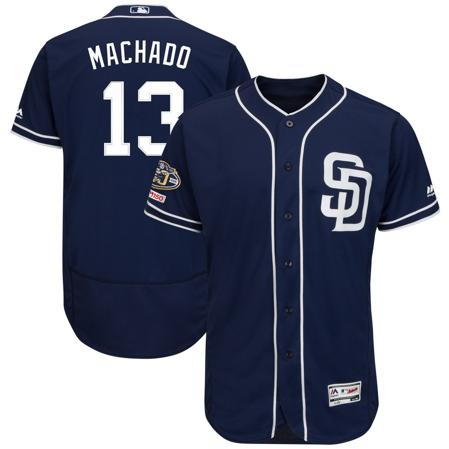 Men's San Diego Padres 13 Manny Machado Navy 50th Anniversary and 150th Patch FlexBase Jersey