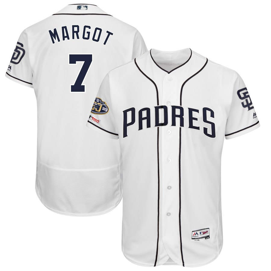 Men's San Diego Padres 7 Manuel Margot White 50th Anniversary and 150th Patch FlexBase Jersey
