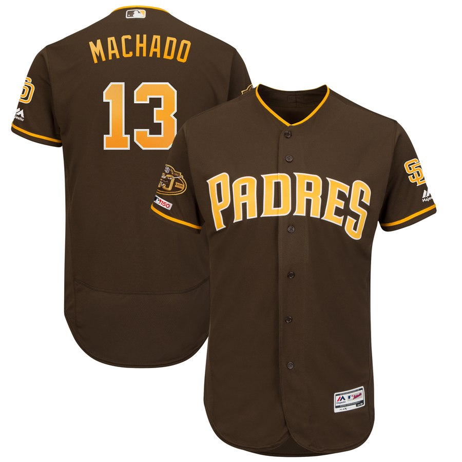 Men's San Diego Padres 13 Manny Machado Brown 50th Anniversary and 150th Patch FlexBase Jersey
