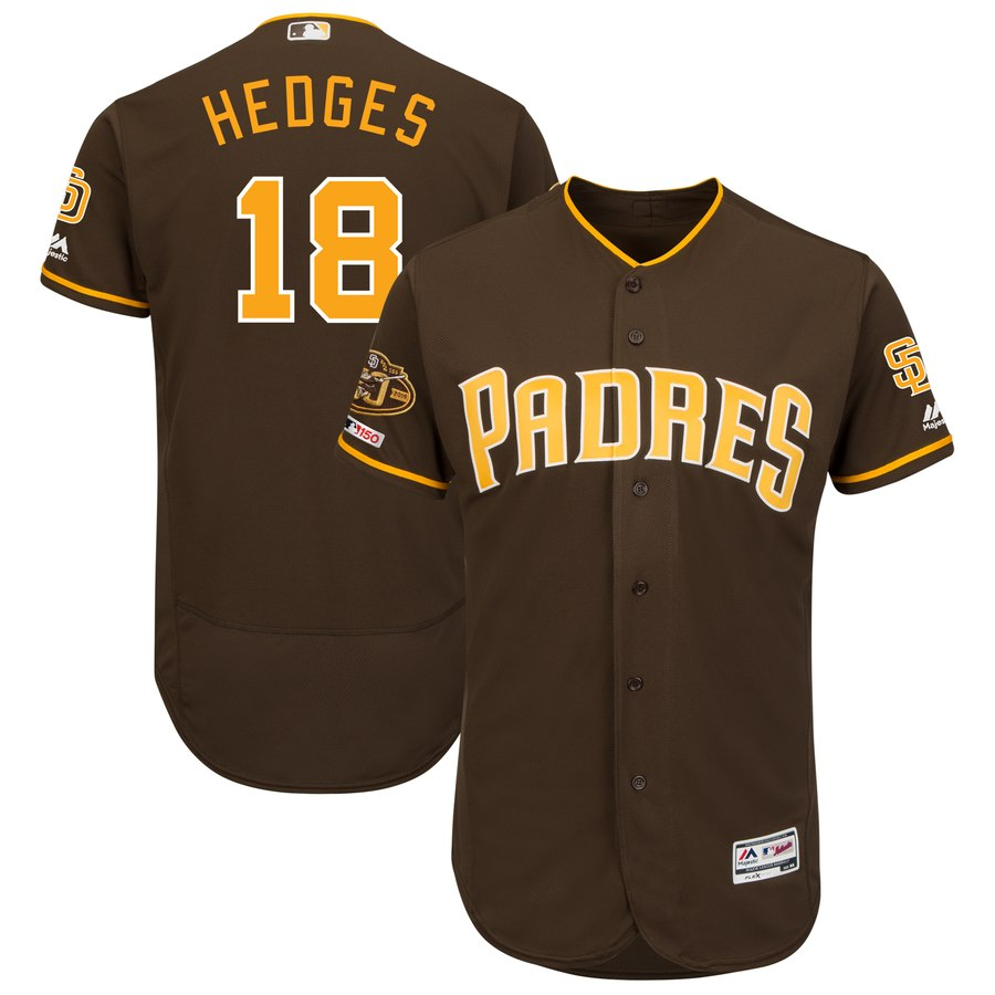 Men's San Diego Padres 18 Austin Hedges Brown 50th Anniversary and 150th Patch FlexBase Jersey