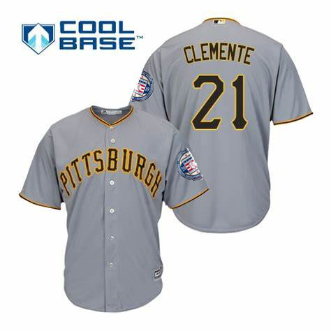 Men's Pittsburgh Pirates 21 Roberto Clemente Gray 2019 Hall of Fame Induction Patch Cool Base Jersey