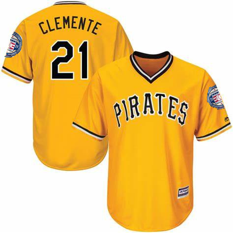 Men's Pittsburgh Pirates 21 Roberto Clemente Yellow 2019 Hall of Fame Induction Patch Throwback Jersey