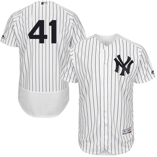 Men's New York Yankees #41 Miguel Andujar White Strip Flexbase Authentic Collection Stitched Baseball Jersey