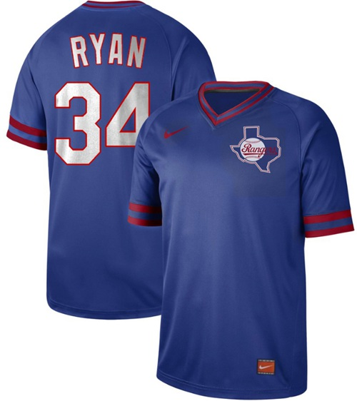 Men's Texas Rangers #34 Nolan Ryan Royal Authentic Cooperstown Collection Stitched Baseball Jersey