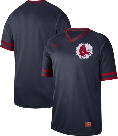 Men's Boston Red Sox Blank Navy Authentic Cooperstown Collection Stitched Baseball Jersey