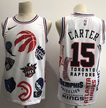 Raptors #15 Vince Carter White Basketball Swingman Jointly Team Jersey