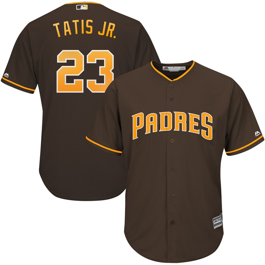 Men's San Diego Padres 23 Fernando Tatis Jr. Brown Cool Base Jersey