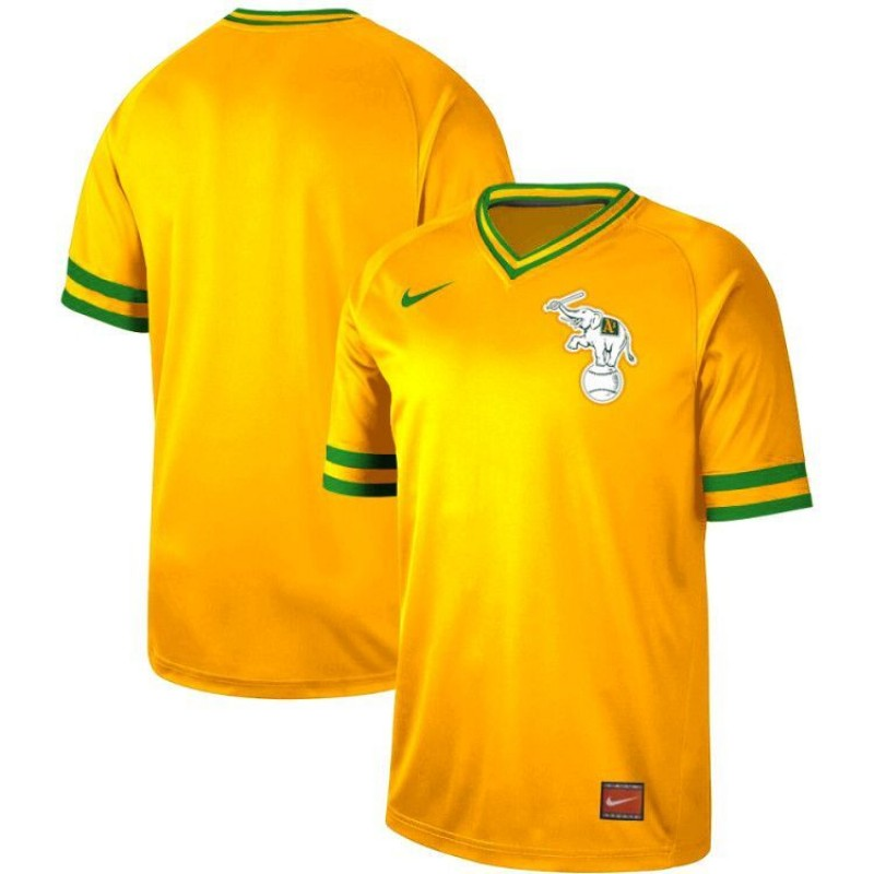 Men's Oakland Athletics Blank Yellow Throwback Jersey