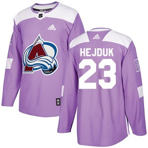 Men's Colorado Avalanche #23 Milan Hejduk Adidas Authentic Fights Cancer Practice Purple Jersey