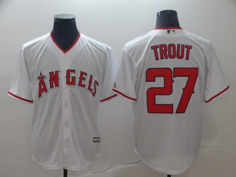 Men's Los Angeles Angels of Anaheim 27 Mike Trout White Cool Base Jersey